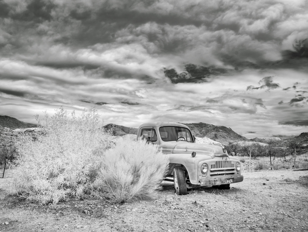 Infrared photo of old truck behind the general store in Hackberry, Arizona.